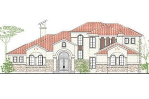 Mediterranean Exterior - Front Elevation Plan #80-128