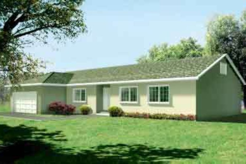 Ranch Style House Plan - 3 Beds 2 Baths 1938 Sq/Ft Plan #1-1382 Exterior - Front Elevation