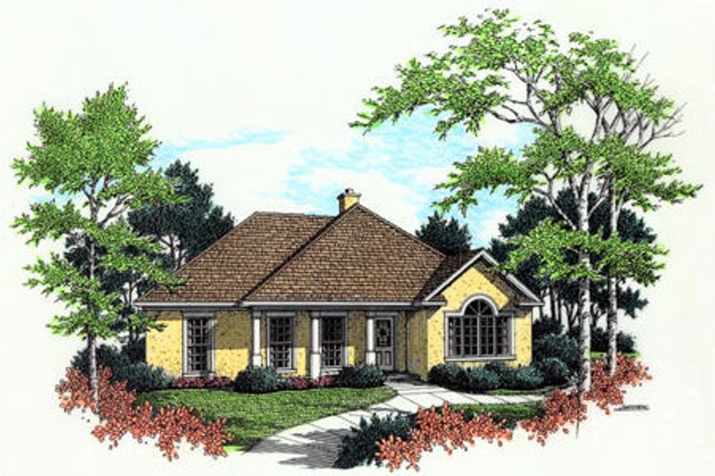 Mediterranean Style House Plan - 3 Beds 2 Baths 1380 Sq/Ft Plan #45-236 Exterior - Front Elevation