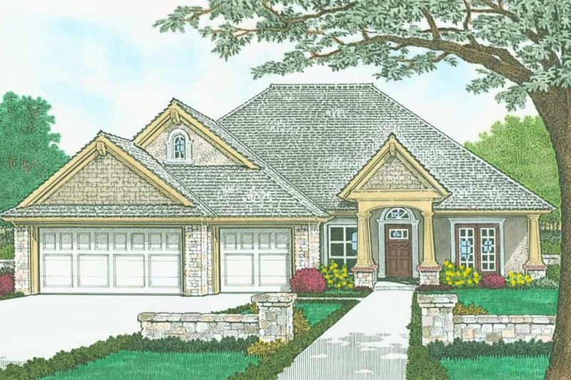 Dream House Plan - Craftsman Exterior - Front Elevation Plan #310-1320