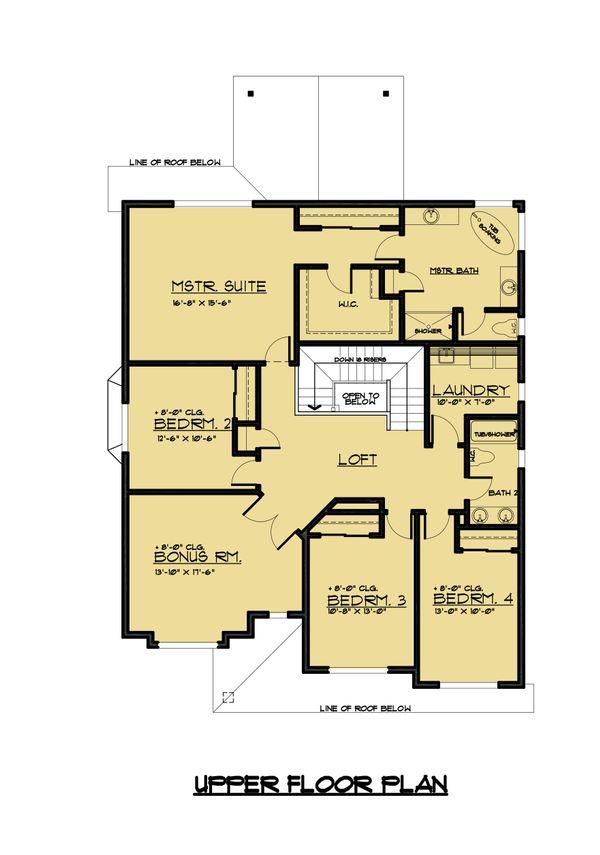 Traditional Floor Plan - Upper Floor Plan Plan #1066-61