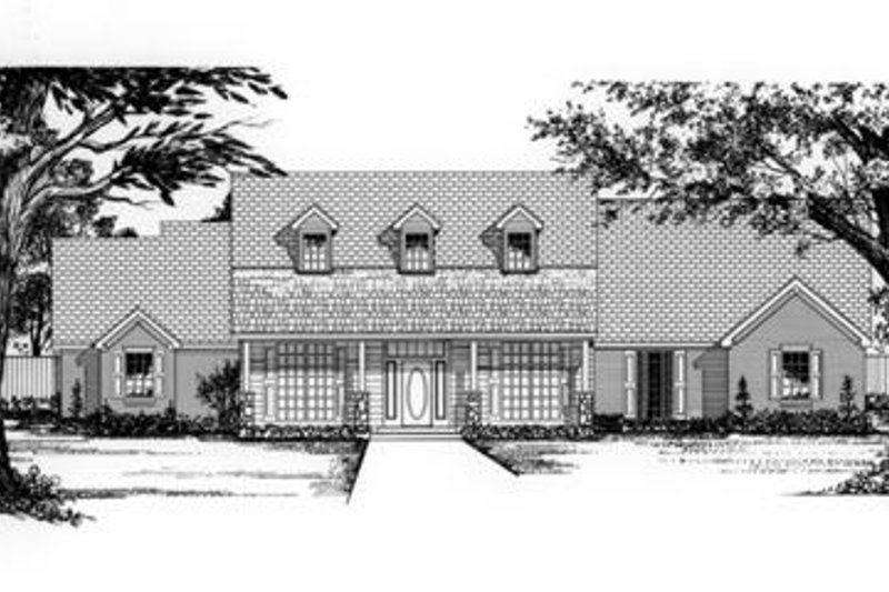 Country Style House Plan - 4 Beds 3 Baths 3210 Sq/Ft Plan #62-122 Exterior - Front Elevation