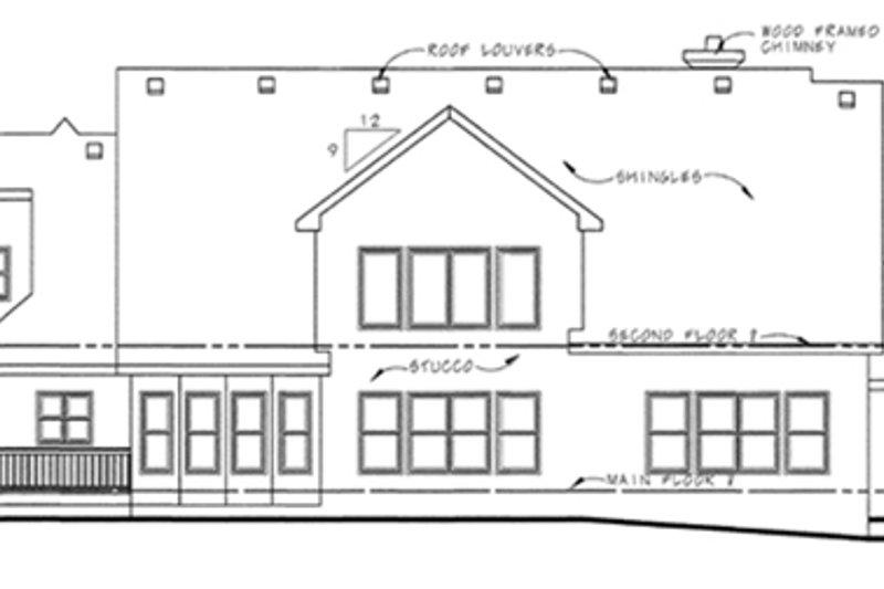 Traditional Exterior - Rear Elevation Plan #20-1555 - Houseplans.com