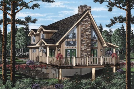 Cottage Exterior - Front Elevation Plan #126-217