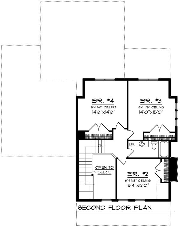 Traditional Floor Plan - Upper Floor Plan Plan #70-1200