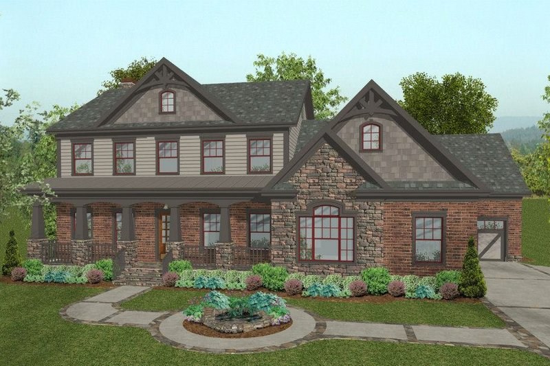 Craftsman Style House Plan - 4 Beds 4.5 Baths 2697 Sq/Ft Plan #56-586 Exterior - Front Elevation