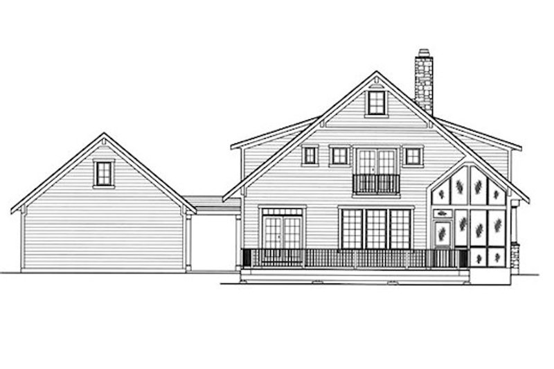 Country Exterior - Rear Elevation Plan #46-476 - Houseplans.com