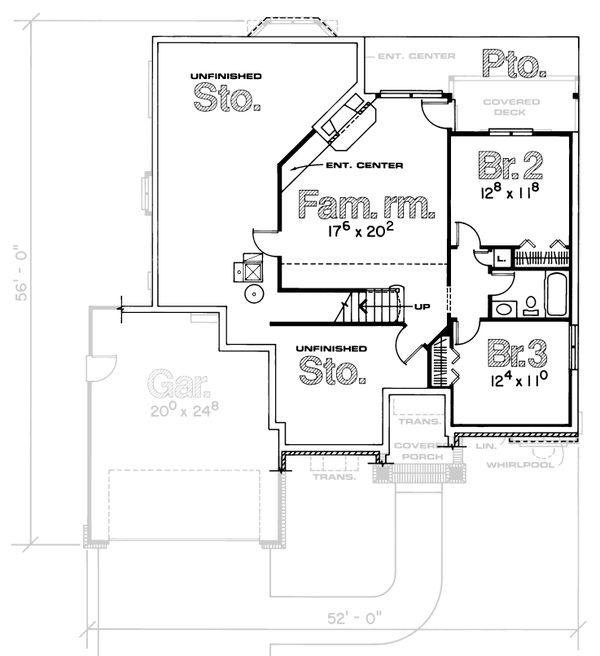 Home Plan - Traditional Floor Plan - Lower Floor Plan #20-155