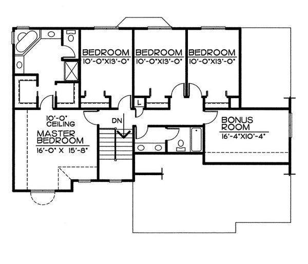 Traditional Floor Plan - Upper Floor Plan Plan #20-2054