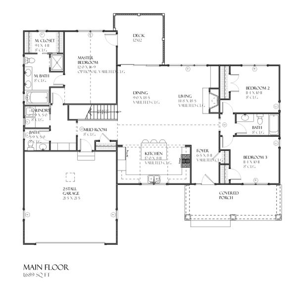Traditional Floor Plan - Main Floor Plan Plan #901-47