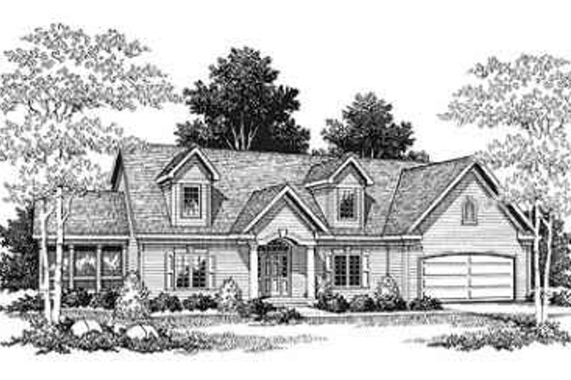 Traditional Style House Plan - 3 Beds 2.5 Baths 2197 Sq/Ft Plan #70-332 Exterior - Front Elevation