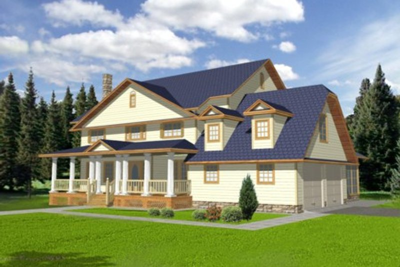 Country Style House Plan - 5 Beds 5 Baths 3007 Sq/Ft Plan #117-291 Exterior - Front Elevation