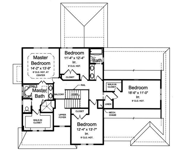 Traditional Floor Plan - Upper Floor Plan Plan #46-883