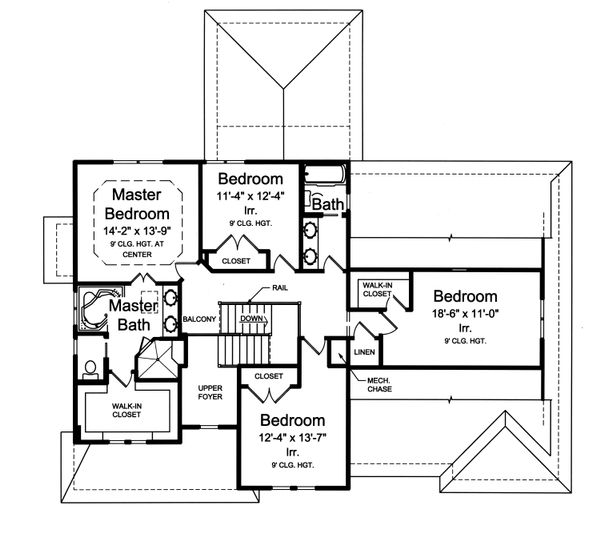 Traditional Floor Plan - Upper Floor Plan Plan #46-883