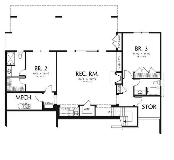 Craftsman Floor Plan - Lower Floor Plan Plan #48-545