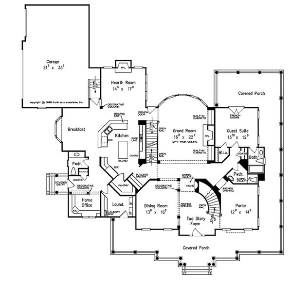 Country Style House Plan - 5 Beds 5.5 Baths 5466 Sq/Ft Plan #927-37 Floor Plan - Main Floor Plan
