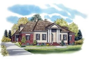 Southern Exterior - Front Elevation Plan #81-1353