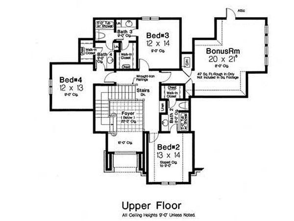 Tudor Floor Plan - Upper Floor Plan Plan #310-653