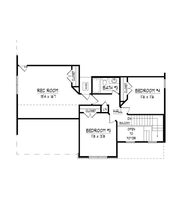 Traditional Floor Plan - Upper Floor Plan Plan #424-415