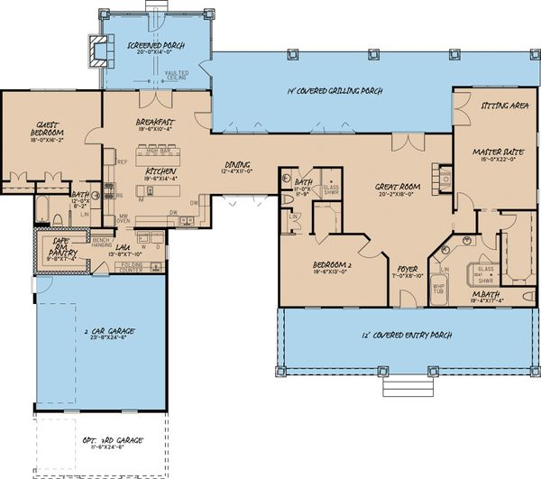 Country Floor Plan - Main Floor Plan #17-2592