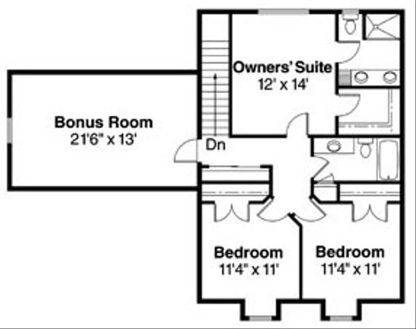 Craftsman Floor Plan - Upper Floor Plan Plan #124-755