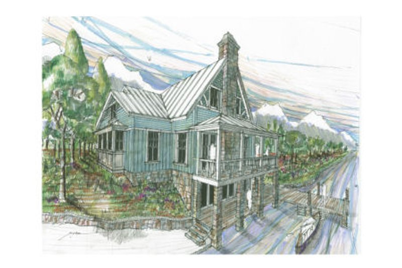 Craftsman Style House Plan - 3 Beds 3 Baths 2064 Sq/Ft Plan #426-9 Exterior - Front Elevation