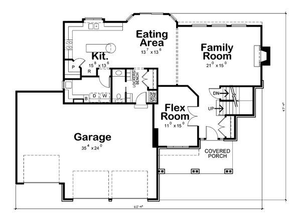 Dream House Plan - Craftsman Floor Plan - Main Floor Plan #20-2366