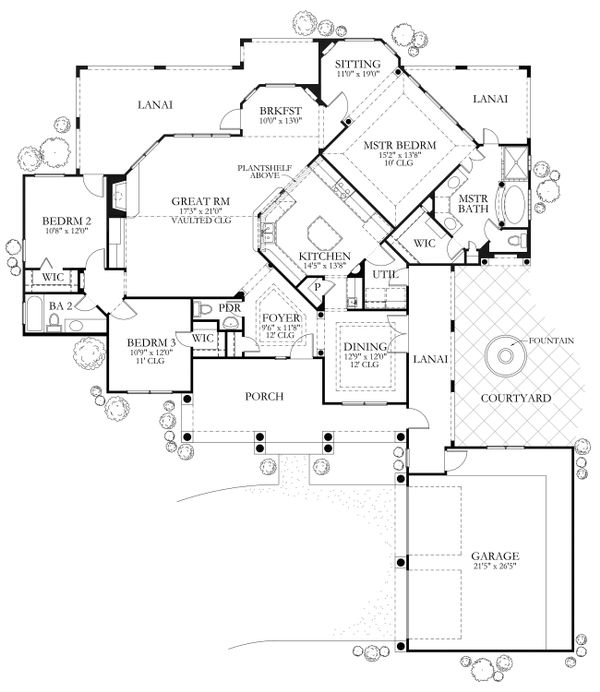 Mediterranean Floor Plan - Main Floor Plan Plan #80-117