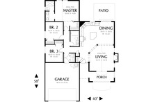 Main floor plan - 1275 square foot Craftsman house plan
