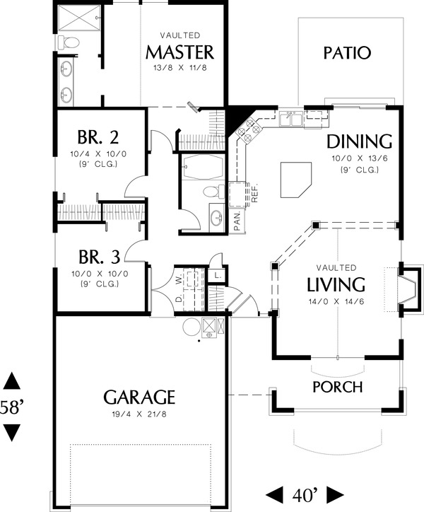 Main floor plan - 1275 square foot Craftsman house plan