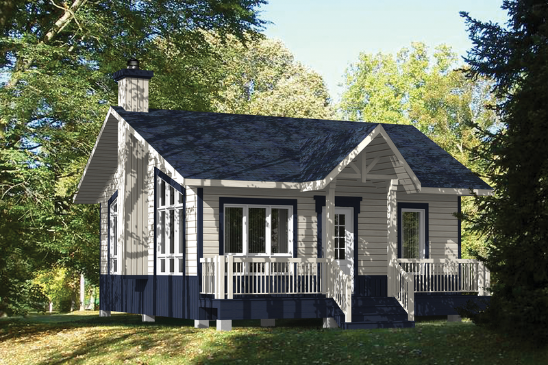 Cabin Style House Plan - 1 Beds 1 Baths 576 Sq/Ft Plan #25-4408