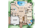 Beach Style House Plan - 4 Beds 4.5 Baths 3451 Sq/Ft Plan #27-484 Floor Plan - Main Floor Plan