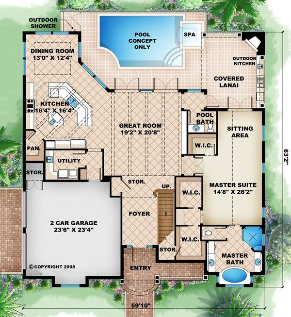 Beach Floor Plan - Main Floor Plan Plan #27-484