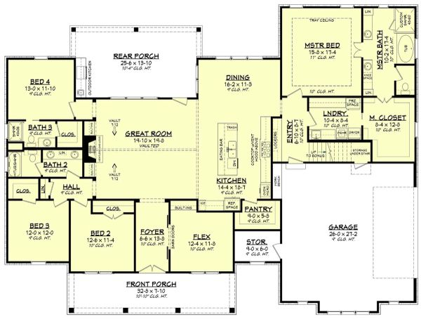 Craftsman Floor Plan - Main Floor Plan #430-201