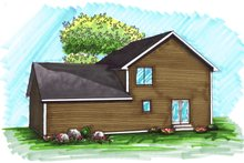 Home Plan - Traditional Exterior - Rear Elevation Plan #70-1028