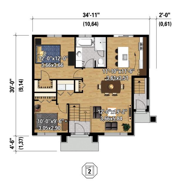 Contemporary Floor Plan - Main Floor Plan Plan #25-4400