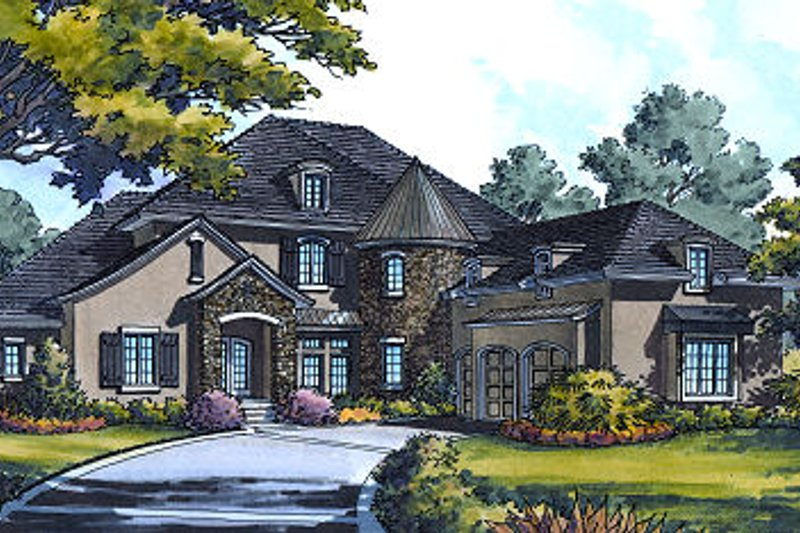European Style House Plan - 4 Beds 4.5 Baths 4669 Sq/Ft Plan #417-428 Exterior - Front Elevation
