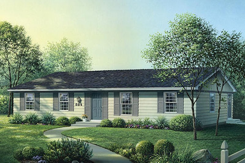 Ranch Style House Plan - 4 Beds 2 Baths 1300 Sq/Ft Plan #57-532 Exterior - Front Elevation