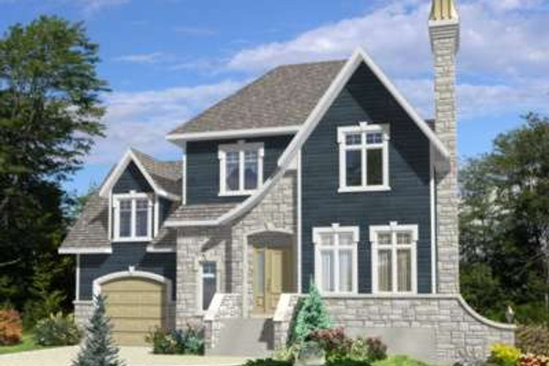 European Style House Plan - 3 Beds 1.5 Baths 1510 Sq/Ft Plan #138-120 Exterior - Front Elevation