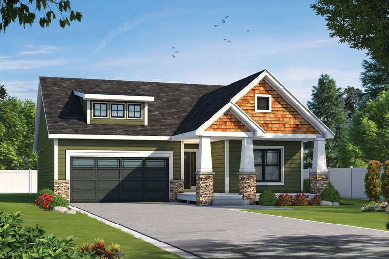 Cottage Style House Plan - 2 Beds 2 Baths 1511 Sq/Ft Plan #20-2391 Exterior - Front Elevation