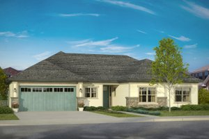 Ranch Exterior - Front Elevation Plan #124-1003