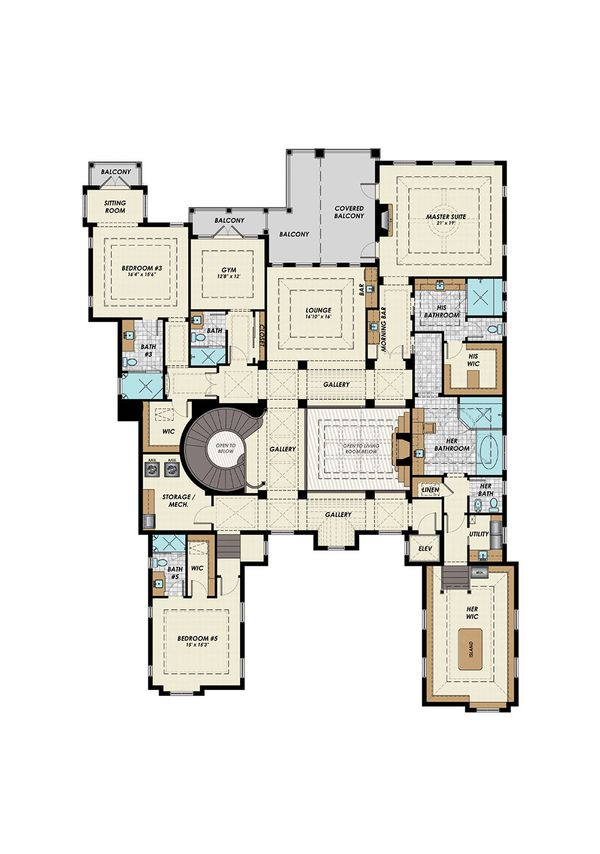 Mediterranean Floor Plan - Upper Floor Plan Plan #548-19