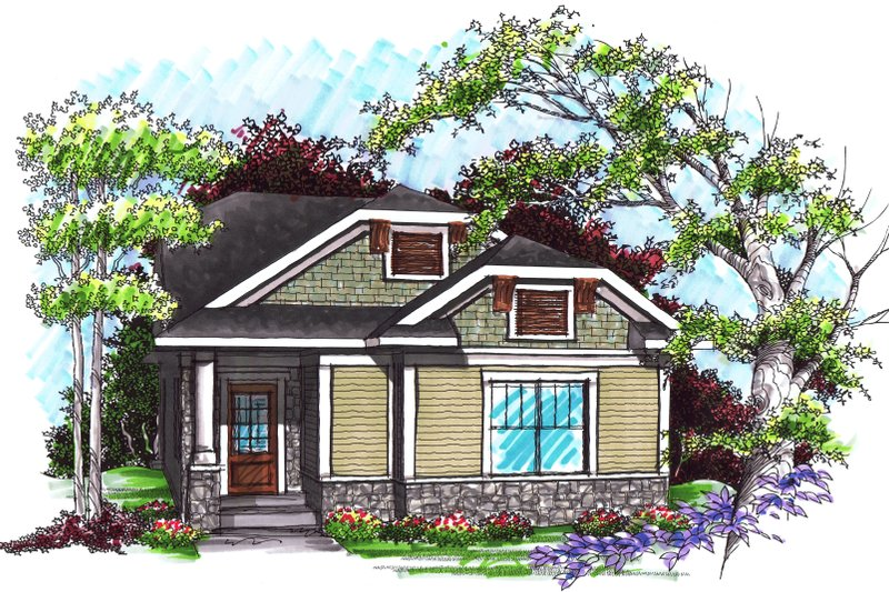 Ranch Exterior - Front Elevation Plan #70-1024