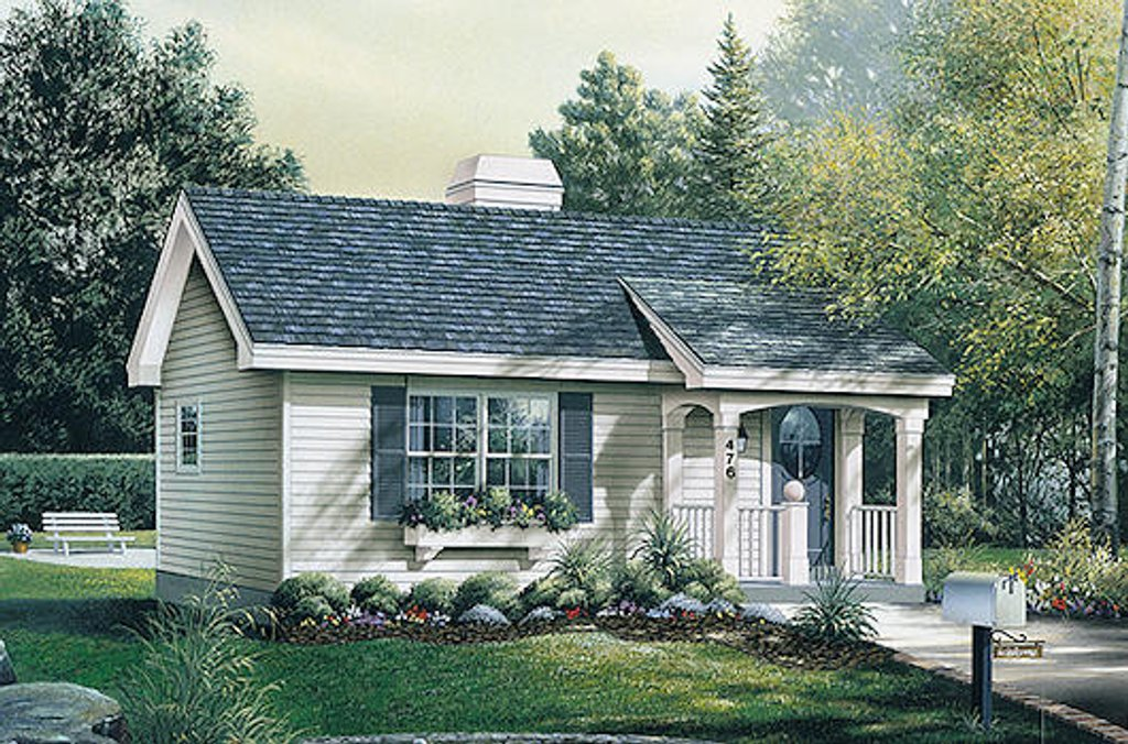 Cottage style house plan 1 beds 1 baths 576 sq ft plan for Cost to build a 576 sq ft house