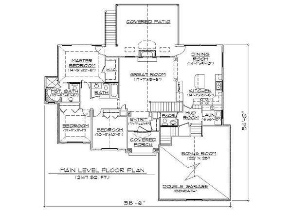 House Plan Design - Traditional Floor Plan - Main Floor Plan #5-252