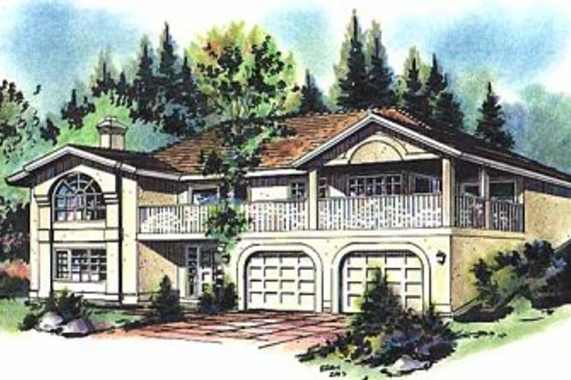 European Style House Plan - 3 Beds 3 Baths 1904 Sq/Ft Plan #18-118 Exterior - Front Elevation