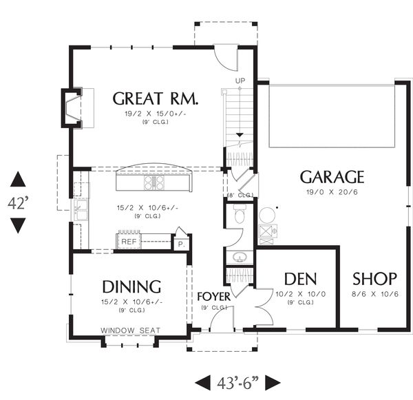European Floor Plan - Main Floor Plan Plan #48-557