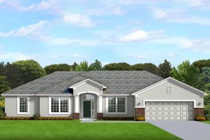 Ranch Exterior - Front Elevation Plan #1058-193