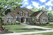 European Style House Plan - 4 Beds 3 Baths 3167 Sq/Ft Plan #17-2144 Exterior - Front Elevation