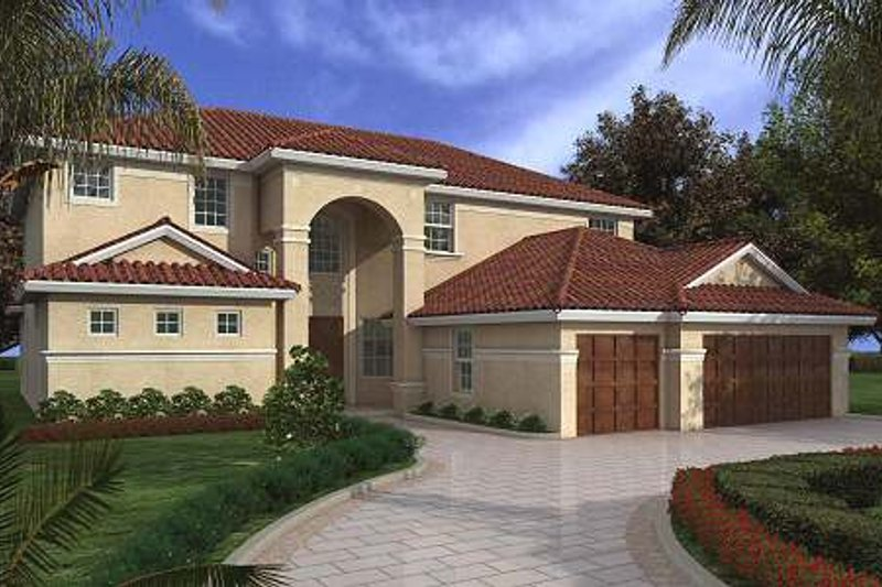 Mediterranean Style House Plan - 4 Beds 4.5 Baths 4370 Sq/Ft Plan #420-153 Exterior - Front Elevation